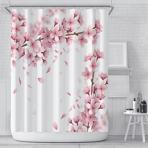 GDYJP Wohnkultur Badvorhänge Rosa Kirschblüten Pfirsichblüten Duschvorhang Weißer Hintergr& 180x200cm Badezimmer Wasserdichtes Polyester Tuch Display mit Haken