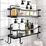 2-Pack Adhesive Shower Caddy, Shower Shelf, No Drilling Rustproof Stainless Steel OMAIRA Shower Organizer for Inside Shower & Kitchen Storage (Matte Black)