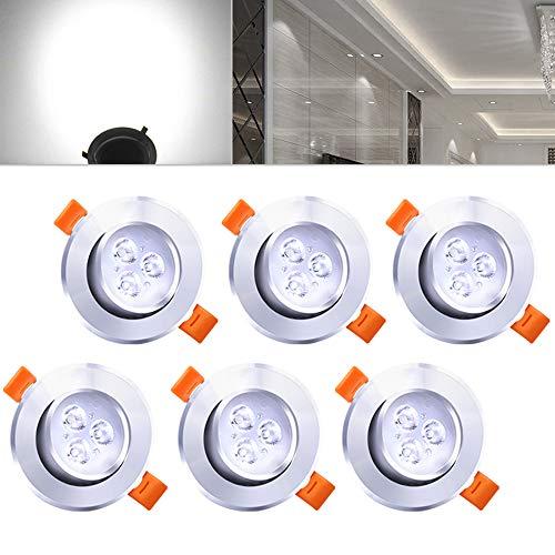 Hengda® 6 pcs Einbaustrahler 3W LED Kaltweiß Deckenstrahler Spot Lampe Treppe Küchen Decke Einbau Spots Strahler mit Travo Einbauleuchten IP44