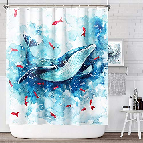 ANZOME Duschvorhänge Wal, Anti-Schimmel Duschvorhang Wasserdichter Bad Vorhang aus Waschbar Polyester Stoff mit 12 Duschvorhangringen 180x180 cm & Beschwertem Saum