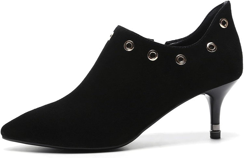 Dulce Diva Suede Leather Zip Mid Heel Point Toe Pumps Office Women