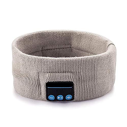 Daxueyan Smart sport pannband med trådlöst bluetooth samtalshuvud med musik stereo stickad bluetooth huvudduk 22,1 x 6,6 cm hampa grå