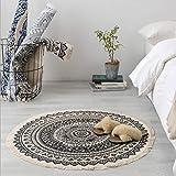 DENGHENG Morocco Runder Teppich, Boho-Stil, Quaste, Baumwolle, Matte, Decke, Dekor