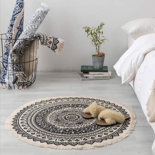 DENGHENG Marokko Rund Teppich Boho Stil Quaste Baumwolle Teppich Matte Türdecke Dekor