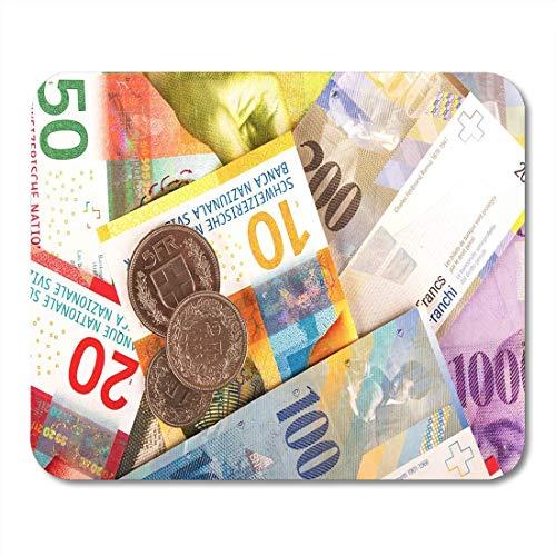 Mauspads Blue Bank Schweizer Franken Rechnungen und Münzen 10 20 Mauspad für Notebooks, Desktop-Computer Matten Büromaterial