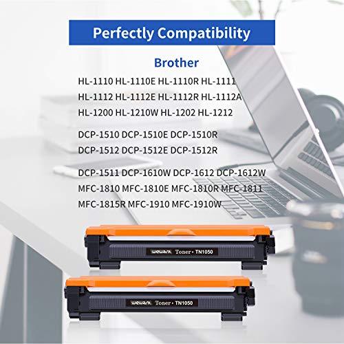 Wewant Toner TN-1050 Compatible Brother TN1050 Cartucho de Tóner para Brother HL-1110 HL-1111 HL-1112 HL-1210W HL-1202 HL-1212 DCP-1510 DCP-1511 DCP-1512 DCP-1610W DCP-1612W MFC-1810 MFC-1910,2 Negro