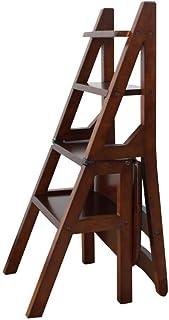 Taburetes escalera Escalera de Tijera Plegable de Madera 4 Escalera de Tijera Silla Multifunción Escalera de Racks Biblioteca en casa Taburete de Paso Carga máxima 150 kg (Color : D)