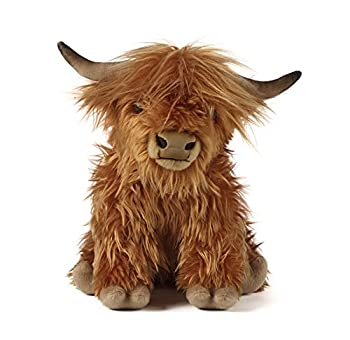 Living Nature Soft Toy Large Plush 12  Highland Cow with Sound