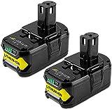 2X Reoben P108 18V 5,5Ah Pack Remplacement de Batterie pour Ryobi Batterie ONE + RB18L50 RB18L25 RB18L15 RB18L13 P108 P107 P122 P104 P102 P103 avec Indicateur LED