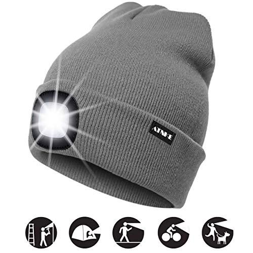 ATNKE LED beleuchtete Mütze, wiederaufladbare USB-Laufmütze mit extrem Heller 4-LED-Lampe und Blinkender Alarmscheinwerfer/Grau