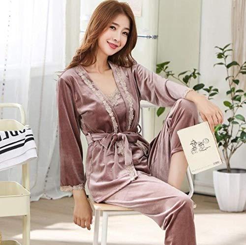 BOLIXIN PyjamaHerbst Winter 3 PCS Frauen Pyjamas Set Weibliche Schlaf Lounge Pijama Nachtwäsche Night Home Kleidung Pyjama Anzug, Farbe 1, M.