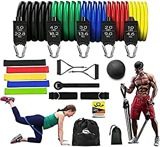 SARAN,18 pcs 100% original Latex Quality Resistance Band Set, best home exercise for Men and Women with Resistance Loop Ba...