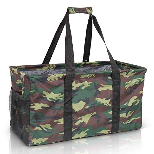Extra Large Utility Tote Bag - Oversized Collapsible Reusable Wire Frame Rectangular Canvas Basket With Two Exterior Pockets For Beach, Pool, Laundry, Car Trunk, Storage - Camo