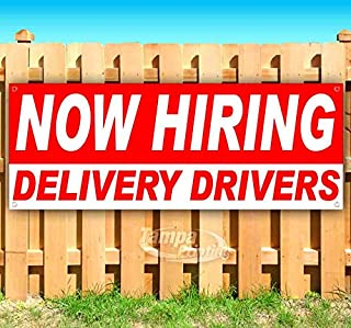 Now Hiring DELIVERY Drivers 13 oz Heavy Duty Vinyl Banner Sign with Metal Grommets, New, Store, Advertising, Flag, (Many Sizes Available)