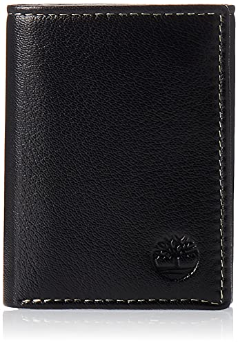 Timberland Mens Leather Trifold Wallet With ID Window, Black (Blix),...