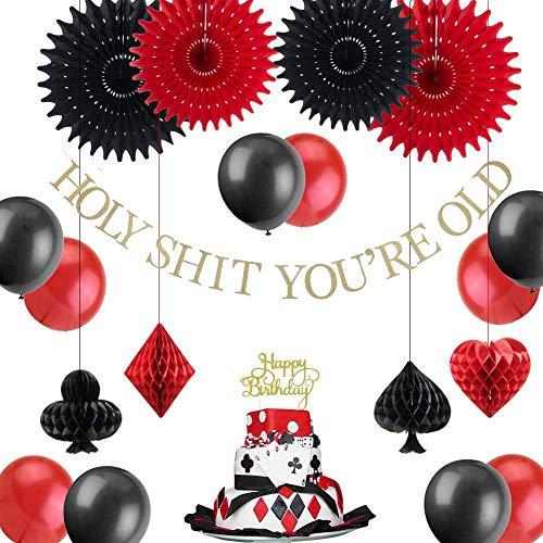 WHRP-decoration Girlande Deko Casino Theme Birthday Party Dekoration Set Alles Gute Zum Geburtstag Cake Topper Glitter Gold Holy Shit Du Bist Alt Banner Balloon Las Vegas