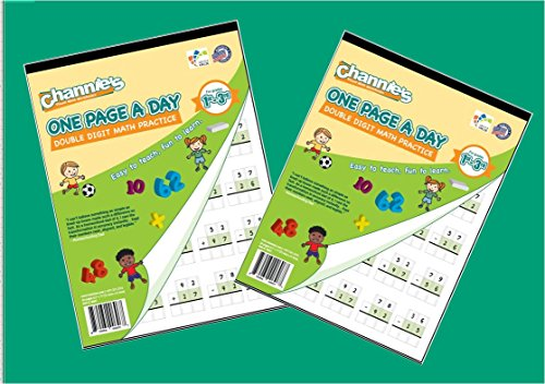 """Channie's One Page A Day Workbook, Double Digit Math Practice Worksheets, Total 100 Pages Front & Back (50 Sheets) in 2-Pack Set, Grades 1st, 2nd & 3rd, Size 8.5"""" x 11"""" (2 Pack)"""