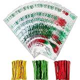 100 Pezzi Sacchetti di Cellophane Halloween Natale Borse Trattare Trasparente Borse Goodies con 150 Pezzi Twist Tie per Fornitura di Festa (Stile 1)