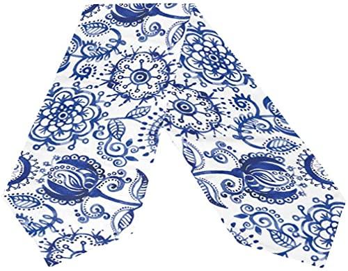 MODORSAN Camino de Mesa de Paisley Azul,decoración de Mesa de Comedor de Cocina de Vacaciones,13'x70' para Mesa de Cena,casa de Campo,Boda,Fiesta,Vacaciones