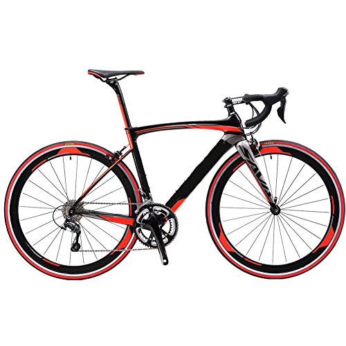QAZWSX Road Bikes, Warwinds3.0 Carbon Road Bike Racing Bike 700C Carbon Fiber Road Bicycle with 18 Speed Derailleur System and Double V Brake,Red