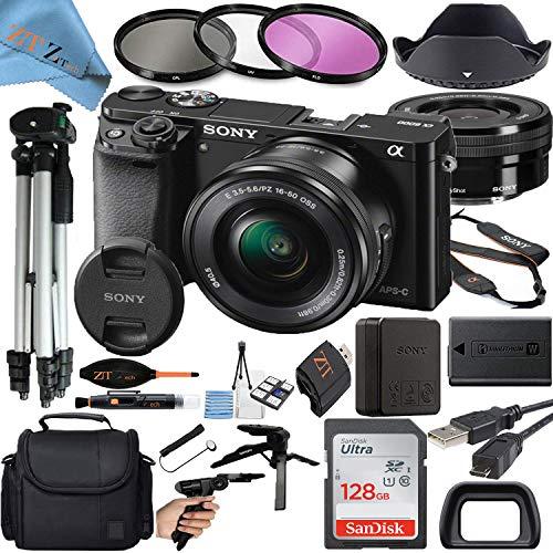 Sony Alpha a6000 Mirrorless Digital Camera with 24.3MP CMOS Sensor, 16-50mm Zoom Lens, SanDisk 128GB Memory Card, Gadget Bag, Tripod and ZeeTech Accessory Bundle (Black ILCE-6000L)