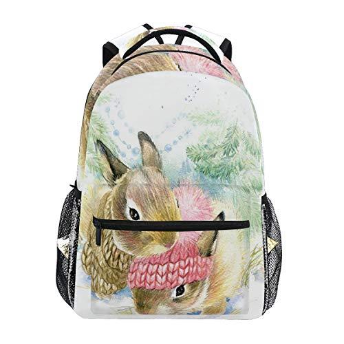 ALAZA Oil Painting Bunny Rabbit Backpack Daypack College School Travel Shoulder Bag