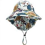 Sombrero para el Sol para niños Sombrero Ancho de Tela de poliéster con protección para el Cuello Sombrero de protección Solar para niños de Verano-White-Coconut tree-52-55cm