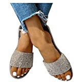 Sandals for Women Flat,2020 Crystal Comfy Platform Sandal Shoes Summer Beach Travel Fashion Slipper Flip Flops