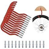 UTRUGAN 12 PCS Gancho de Bicicleta de Acero Carbono Colgadores de Bicicletas Pared Ganchos de Almacenamiento Pesado con 12 Tubos de Expansión para Garaje, Almacén, Trastero (Rojo, 6.1 x 2.6')