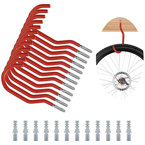 UTRUGAN 12 PCS Crochet Vélo Mural Garage en acier au carbone Crochet à Visser Rouge Crochet Vélo Plafond en Métal Crochet de Rangement Mural avec 12 Tubes d'Expansion pour Vélo Vtt Lourd (155mm)