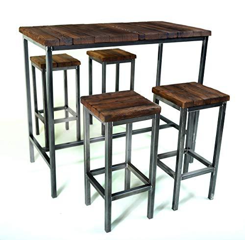 CHYRKA® Bartisch Stehtisch Barhocker Barstuhl BarMöbel SAMBOR Loft Vintage Bar Industrie Design Handmade Holz Metall (Tisch 120x60 + 4 Hocker)