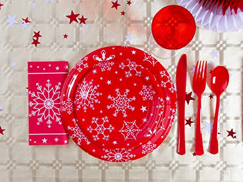 [Pack ahorro] Kit de vajilla desechable diseño de copos de nieve elegante con decoración de mesa para navidad ideal para fiestas - Rojo y blanco - 12 personas