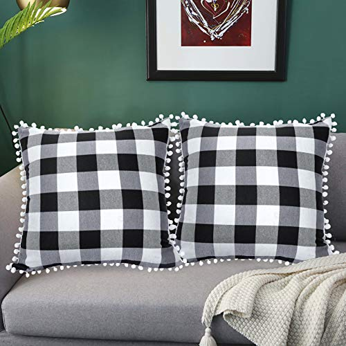 Buffalo Check Plaid Throw Pillow Covers 26x26'' Black and White Square Pillow Cover with Pom-poms Cushion Pillowcase Christmas Pillow Cases for Sofa Couch Home Decoration (26x26, Black and White)