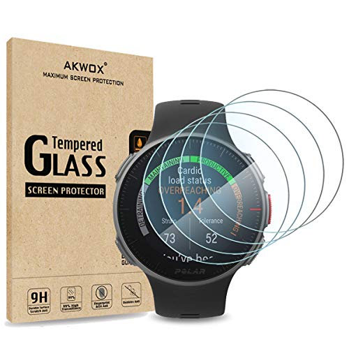 (Pack of 4) Tempered Glass Screen Protector for Polar Vantage V, Akwox [0.3mm 2.5D High Definition 9H] Premium Clear Screen Protector for Polar Vantage V