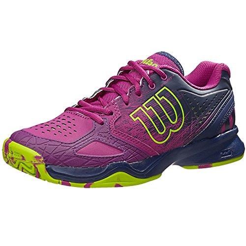 WILSON KAOS COMP W, Chaussures de Tennis Femme, Multicolore-Mehrfarbig (Azalee Pink/Navy WIL/Granny Green), 37 2/3