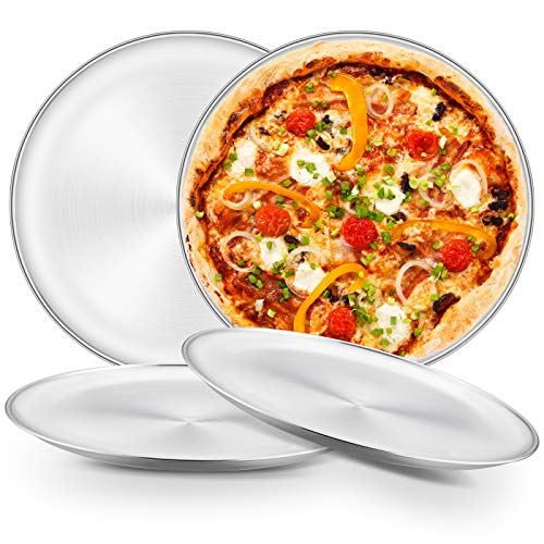 HaWare Pizzaplech 4er Set, Rund Pizzaform Pizza Backblech für Backofen Backen - 26&30cm, Ungiftig & Gusund, Leicht zu Reinigen &Spülmaschinenfest