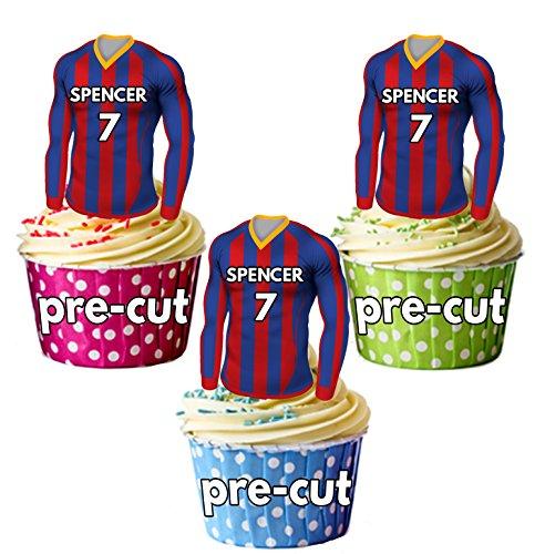 AK Giftshop PRECUT gepersonaliseerde eetbare voetbal shirts met uw gekozen naam & NUMBER - Cupcake toppers/taart decoraties Barcelona kleuren (Pack van 12)