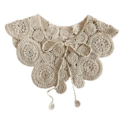 HANBOLI Chal para Mujer, Vintage Crochet Knit Chal Abrigo Bufanda Patrón de círculo Color sólido Decorativo Collar Falso Collar con Cordones Mini Chaqueta