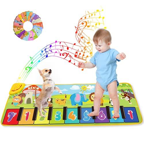 Joyjoz Tappeto Musicale Bambini 130cm Animali Tappeto Piano Grandi Dimensioni Tappetino per Giochi Educazione Giocattoli Regali di Natale di Compleanno per Bambini Ragazzi Ragazze 1-5 Anni