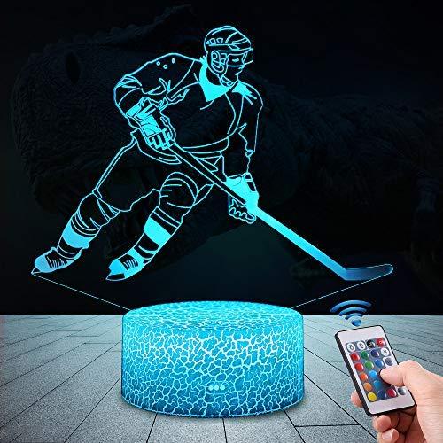 3D Eishockey Lampe LED Nachtlicht mit Fernbedienung, 16 Farben Wählbar Dimmbare Touch Schalter Nachtlampe Geburtstag Geschenk, Frohe Weihnachten Geschenke Für Mädchen, Kinder [Energieklasse A+++]