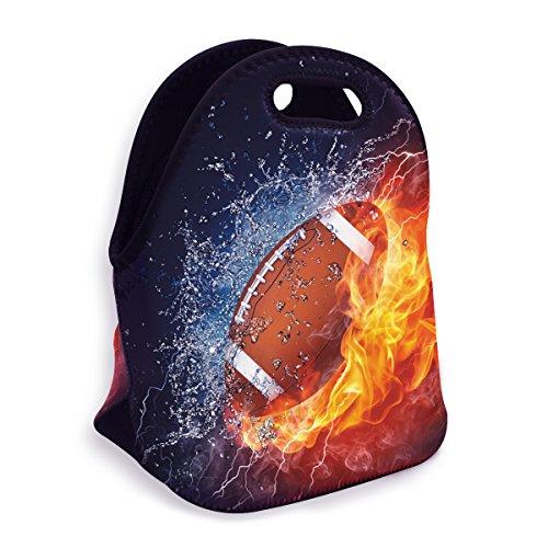 VIPbuy Wasserdichte 3D Damen Herren Outdoor Thermo-Isolierte Neopren Lunch-Tasche für Schule Kinder 3D Football Design