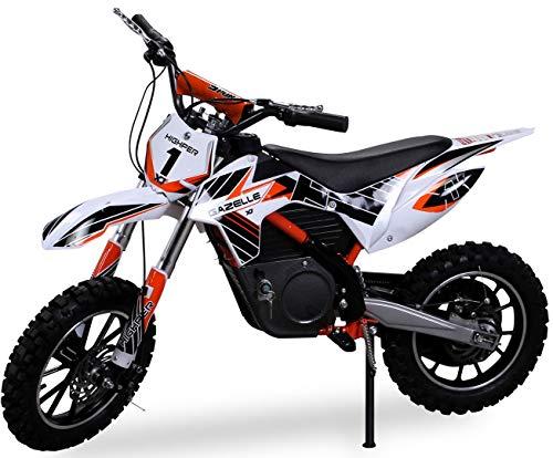 Kinder Mini Crossbike Gazelle ELEKTRO 500 WATT inklusive verstärkter Gabel Dirt Bike Dirtbike Pocket Cross (Orange)