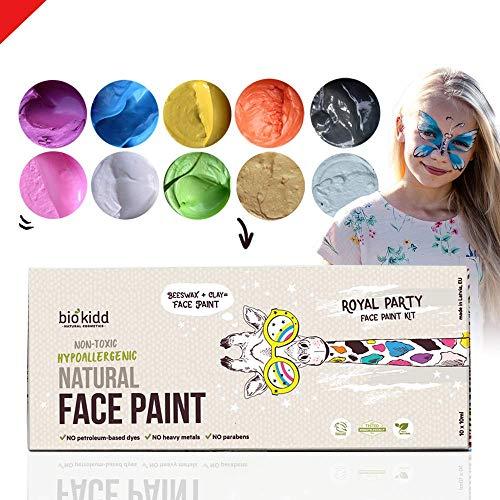 BioKidd Gesichtsfarbe Schminkset für Kinder Bio Natürliche Kinderschminke für Sensitive Haut, Bodypainting Schminkpalette, 10 washbar Face Paint Farben Set für Geburtstag, Halloween, Fasching