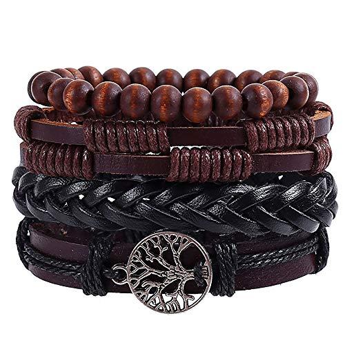 YQG Pulsera de Cuero para Hombre Pulseras con brazaletes con Cordones de cáñamo Cuentas de Madera Encanto étnico Tribal Joyas de Personalidad de Moda Trenzado