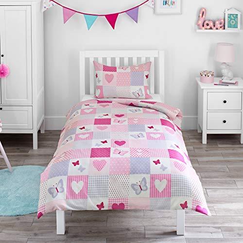 Bloomsbury Mill - Parure de Lit Enfant - Patchwork Cœurs et Papillons - Rose et Lilas - Housse de Couette 120cm x 150cm + Taie Oreiller pour Lit Junior/Bas Âge/Bambin/Bébé