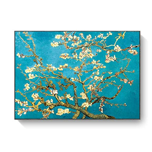 LiangNiInc Van Gogh Mandelblüte Blumen Leinwand Kunst Gemälde Wandplakate und Drucke Impressionist Leinwanddrucke 60x80cm (23,6'x 31,5') Mit Rahmen