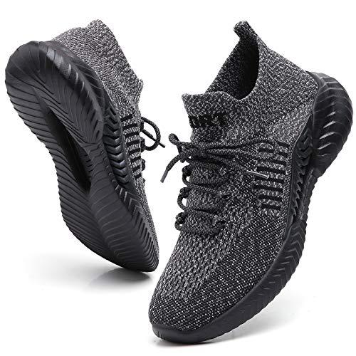 FOVSMO Mens Running Shoes Sports Gym Shoe Cross Training Slip-On Fashion Sneakers for Walking Grey US 11(197Hui45)