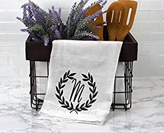 Monogram Flour sack, Kitchen Towels, Personalized, Wedding Gift, for the couple, Anniversary, M