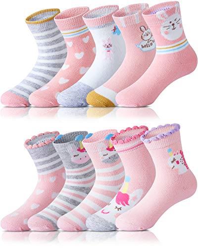 Adorel Mädchen Socken Baumwolle Kinder Strümpfe 10er-Pack Dichterross & Herzchen 32-34 EU (Herstellergröße XL)