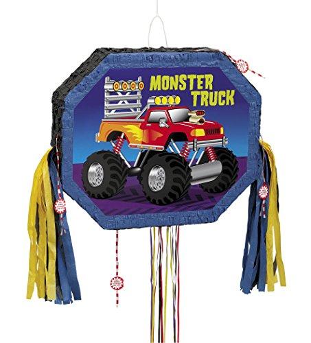 Unique Party Piñata Motif Monster Truck avec Ficelle à Tirer